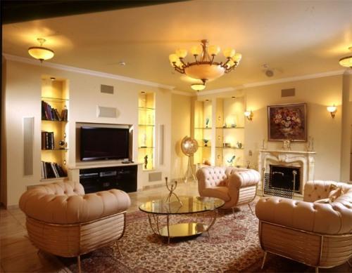 Дизайн потолков в гостиной. Фото 3