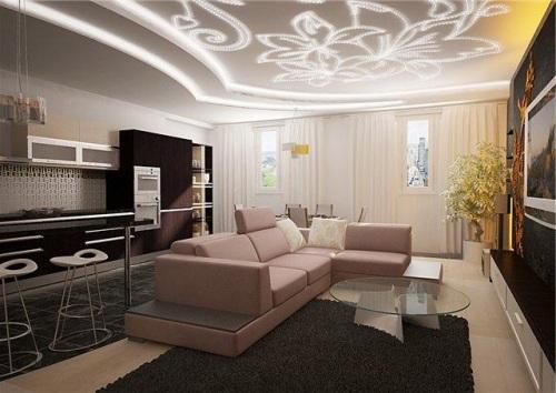 Дизайн потолков в гостиной. Фото 6