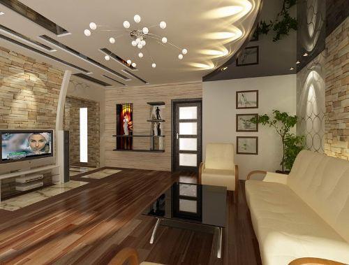 Дизайн потолков в гостиной. Фото 7