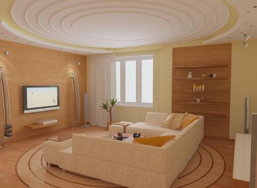 Дизайн потолков в гостиной. Фото 8
