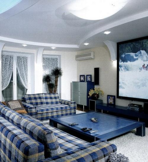 Интерьер гостиной в синем цвете. Фото 10