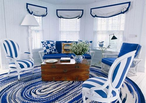 Интерьер гостиной в синем цвете. Фото 11