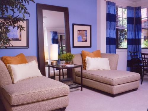Интерьер гостиной в синем цвете. Фото 12