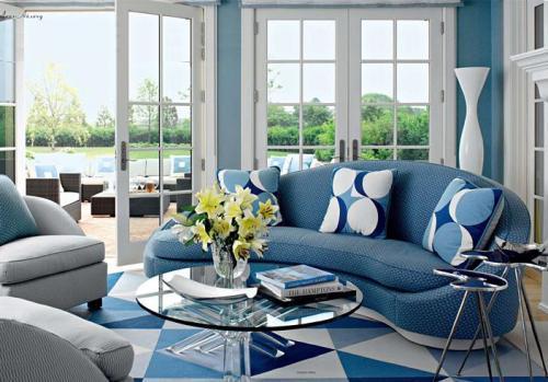 Интерьер гостиной в синем цвете. Фото 13