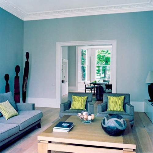 Интерьер гостиной в синем цвете. Фото 14