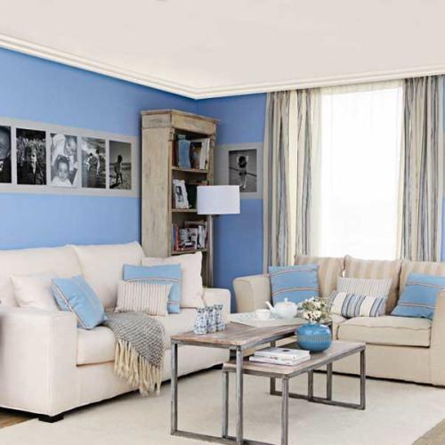 Интерьер гостиной в синем цвете. Фото 15