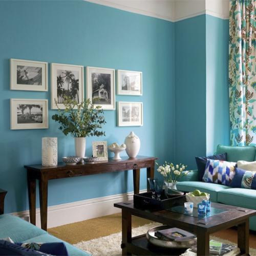 Интерьер гостиной в синем цвете. Фото 3