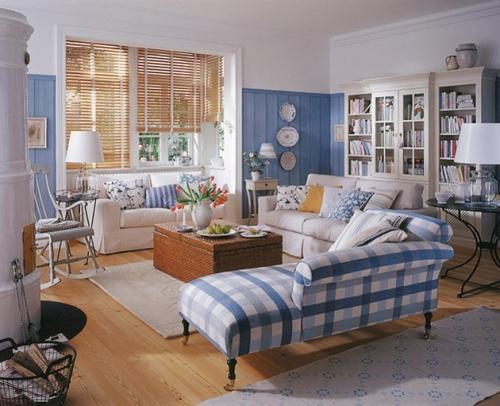 Интерьер гостиной в синем цвете. Фото 4