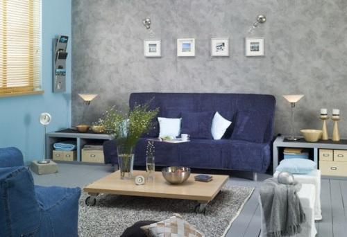 Интерьер гостиной в синем цвете. Фото 5