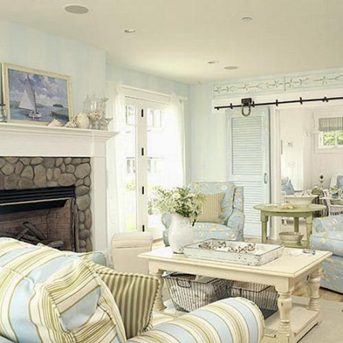 Интерьер гостиной в синем цвете