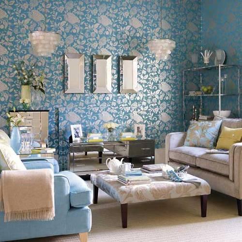 Интерьер гостиной в синем цвете. Фото 7