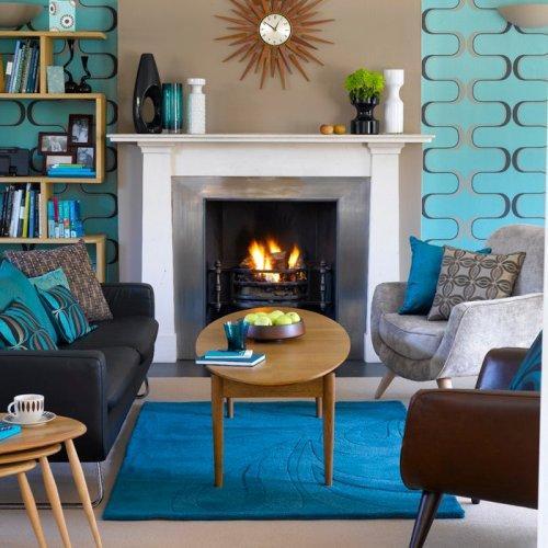 Интерьер гостиной в синем цвете. Фото 8