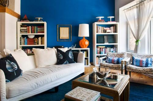 Интерьер гостиной в синем цвете. Фото 9