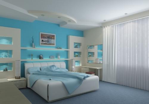 Интерьер комнаты в синем цвете. Фото 10