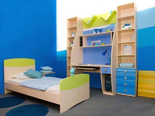 Интерьер комнаты в синем цвете. Фото 11