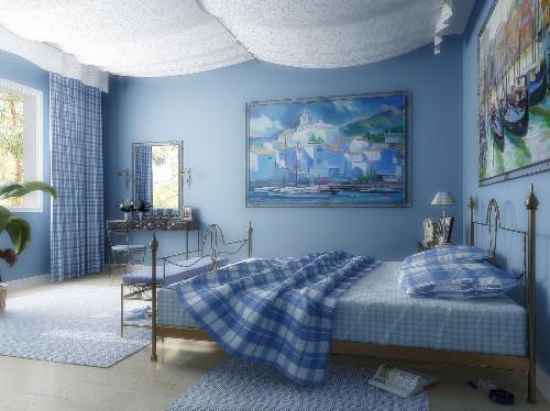 Интерьер комнаты в синем цвете. Фото 12