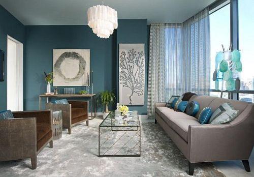 Интерьер комнаты в синем цвете. Фото 3