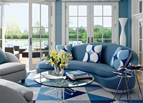 Интерьер комнаты в синем цвете. Фото 7