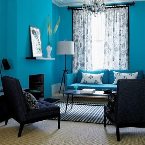 Интерьер комнаты в синем цвете. Фото 8