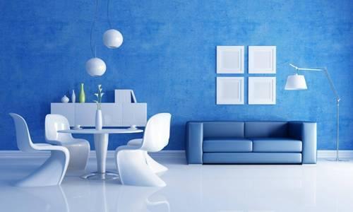 Интерьер комнаты в синем цвете