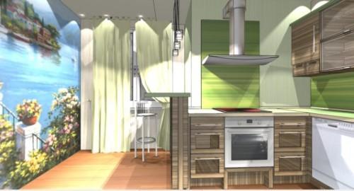 Интерьер кухни с барной стойкой. Фото 7