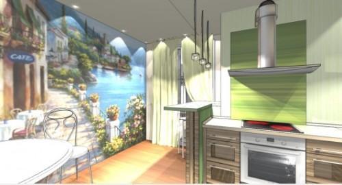 Интерьер кухни с барной стойкой. Фото 8