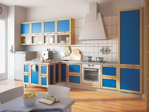 Интерьер кухни в синем цвете. Фото 16