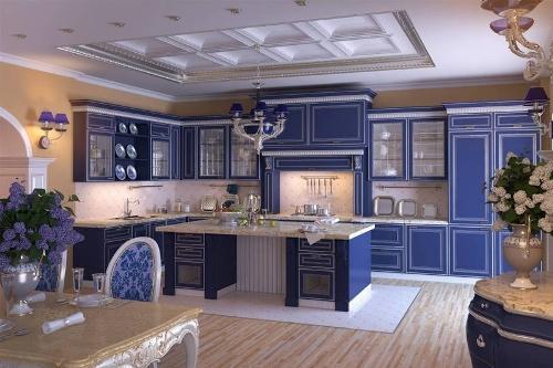 Интерьер кухни в синем цвете. Фото 18
