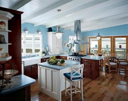 Интерьер кухни в синем цвете. Фото 5