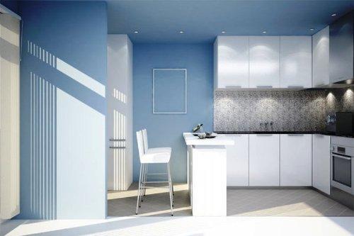 Интерьер кухни в синем цвете. Фото 6
