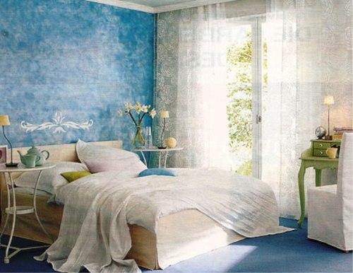 Интерьер спальни в синем цвете. Фото 11
