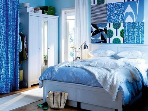 Интерьер спальни в синем цвете. Фото 12