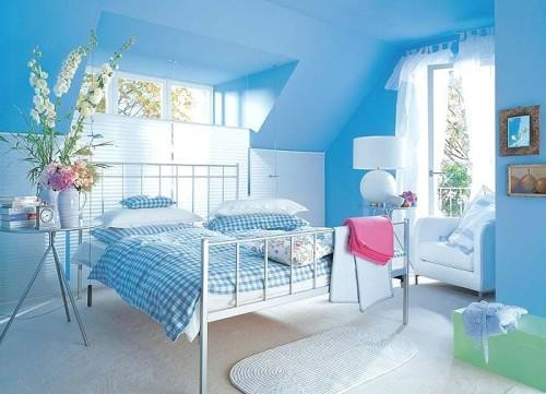 Интерьер спальни в синем цвете. Фото 13