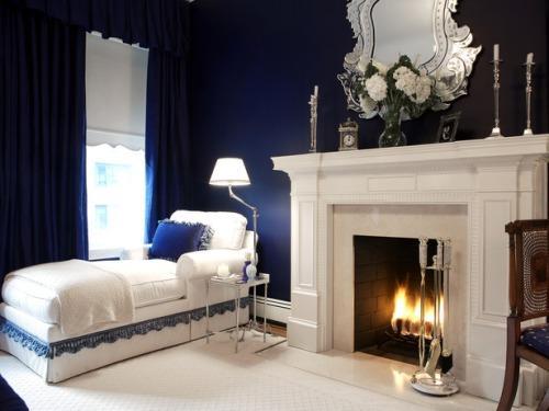 Интерьер спальни в синем цвете. Фото 14