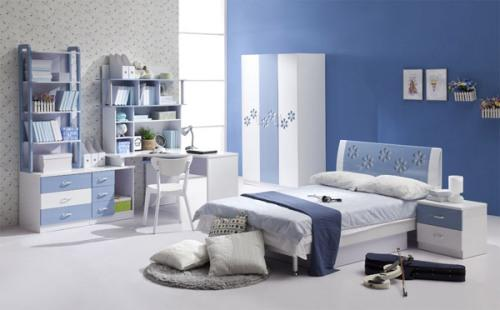 Интерьер спальни в синем цвете. Фото 16