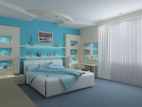Интерьер спальни в синем цвете. Фото 2