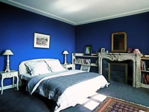Интерьер спальни в синем цвете. Фото 4
