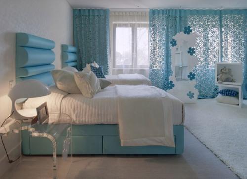 Интерьер спальни в синем цвете. Фото 5