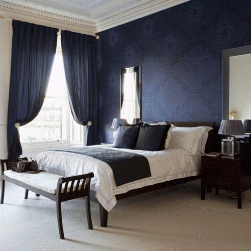 Интерьер спальни в синем цвете. Фото 6