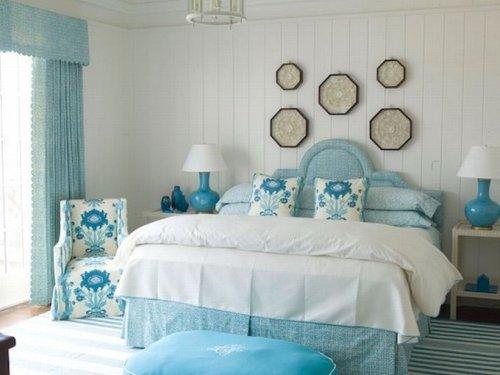 Интерьер спальни в синем цвете. Фото 9
