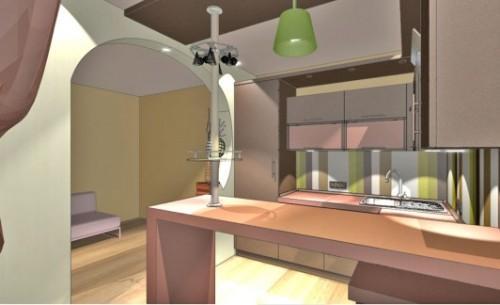 Коричневый цвет в интерьере кухни. Фото 8