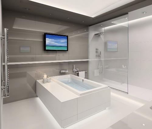 Минимализм в интерьере ванной. Фото 11
