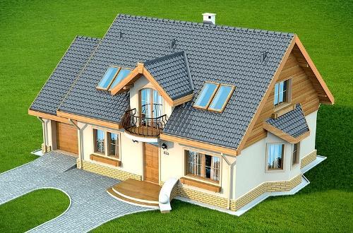 Одноэтажный дом с мансардой и гаражом. Фото