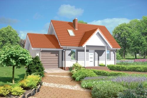 Одноэтажный дом с мансардой и гаражом