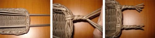 Пасхальная корзинка из газетных трубочек. Фото 9