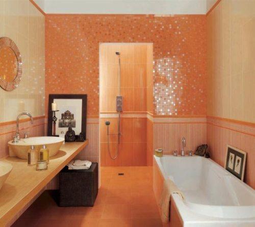 for Orange and blue bathroom designs