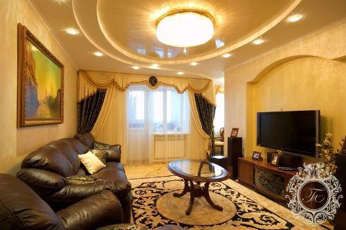 Потолок в гостиной. Фото