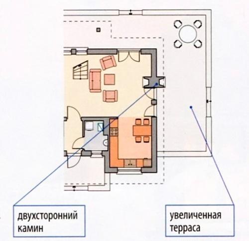 Двухсторонний камин в доме