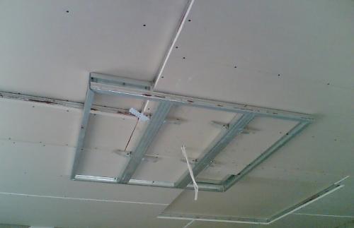 Потолок из гипсокартона своими руками квадраты