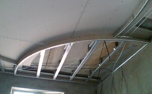 Как правильно монтировать криволинейные элементы гипсокартонного потолка